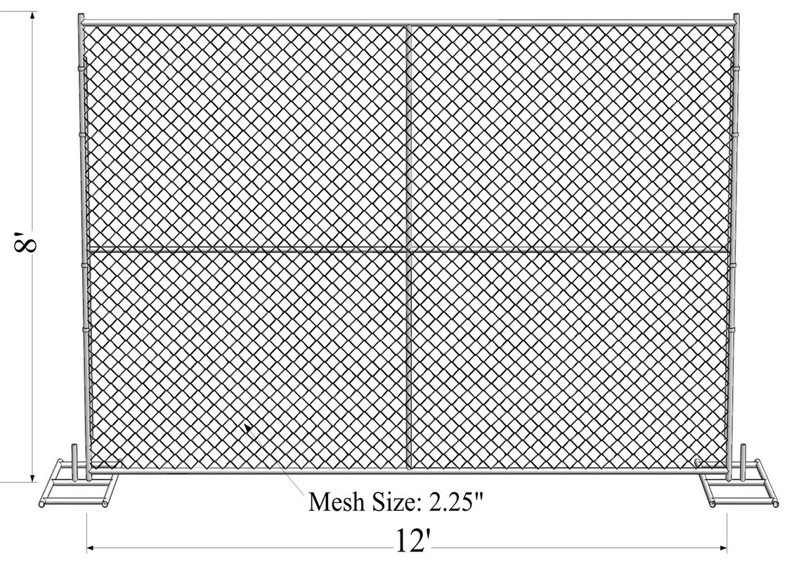 "8' x 12' ""Great Wall Plus"" temporary chain link fence panels Pipe 1.625"" tube x 15ga wall thick mesh 2-2/5""(60mm x 60mm"