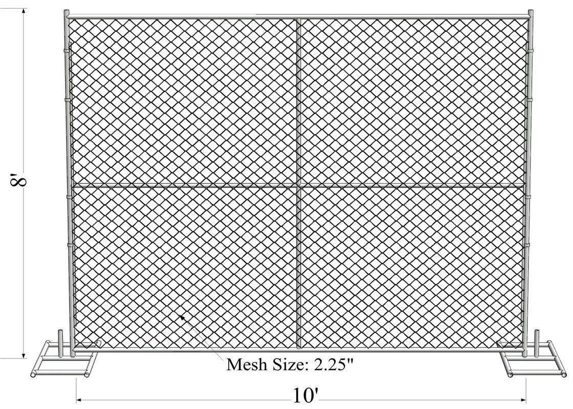 "8' x 10' ""Great Wall"" temporary chain link fence panels Tube 1.625"" /41.2mm  wall thick 14ga supplier"