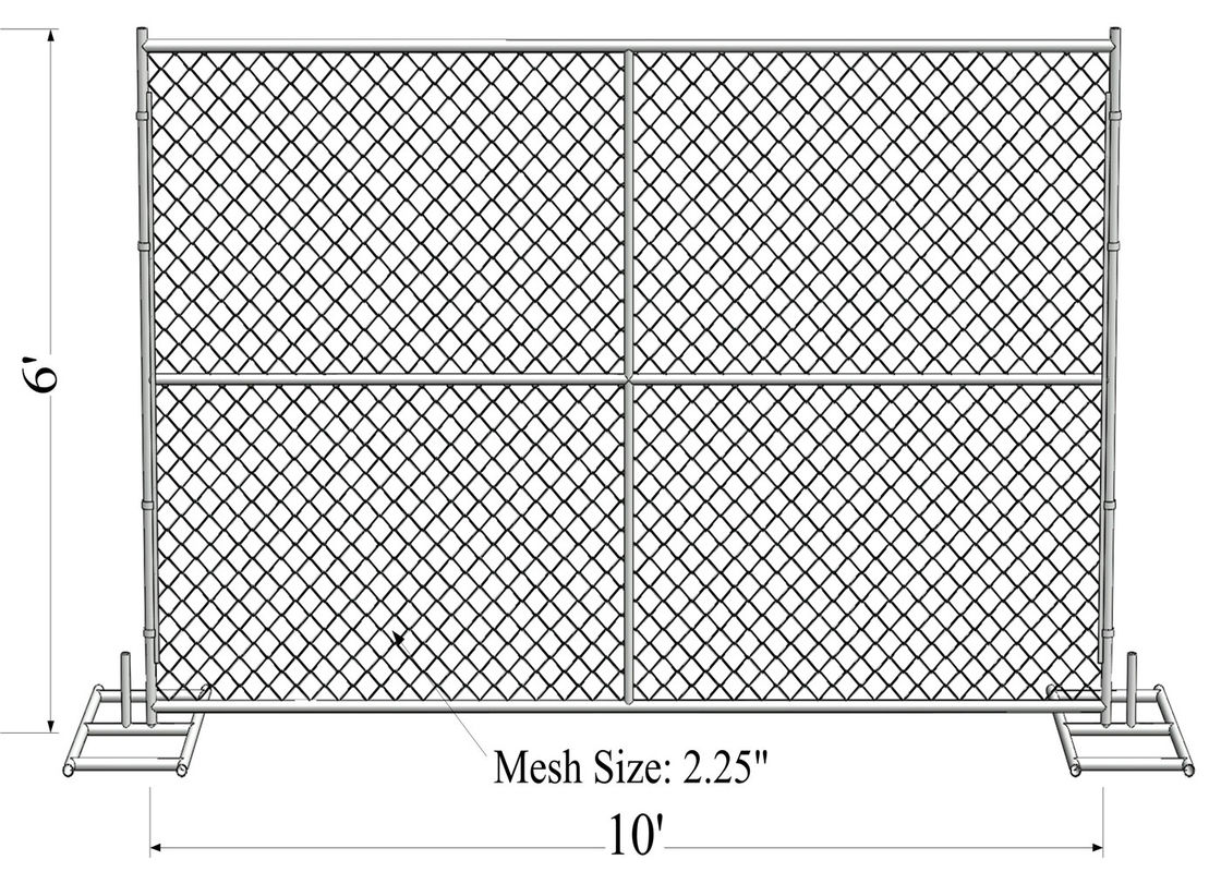 "6' x 10' ""Smart Kids"" temporary chain link fence panels 1.625""(41.2mm) Outer Diameter zinc coated minimum 300gram/sqm supplier"