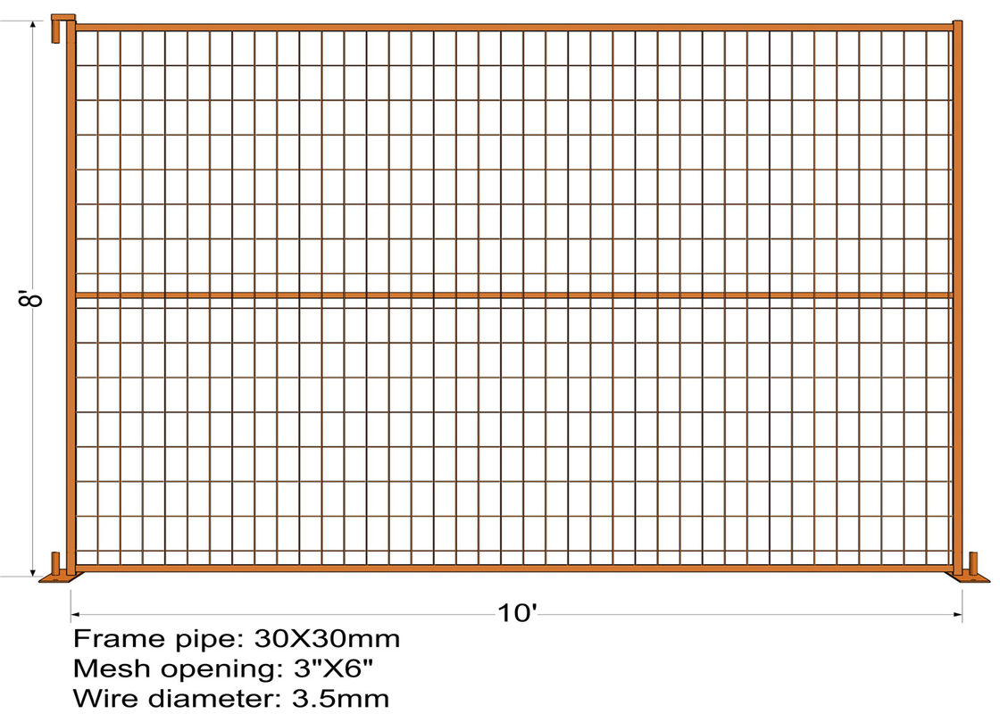 "8FT X 10FT ""Toronto Tower"" TEMPORARY FENCE Mesh 3""x6"" Diameter 3.5mm dupont powder coated minimum layer 100 microns supplier"