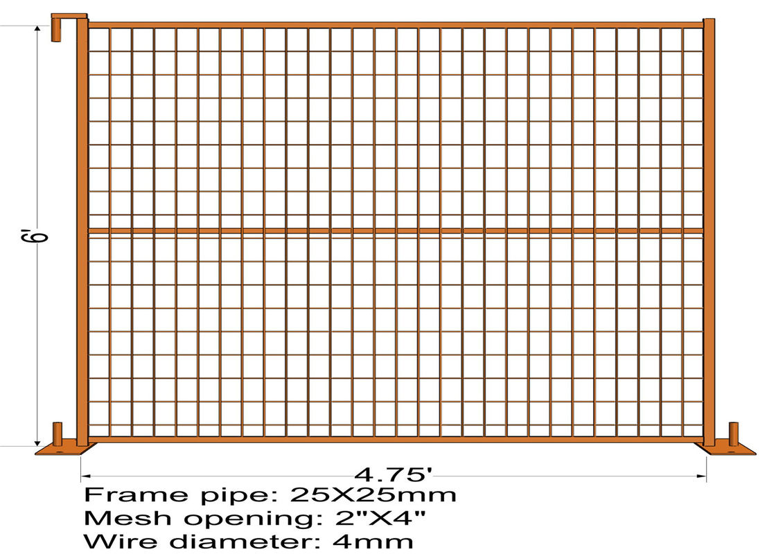"6FT X 4.75FT ""Quebec French Land"" TEMPORARY FENCE Mesh3""x6' Diameter 4.00mm Zinc Coated And Power Coated Dupont supplier"