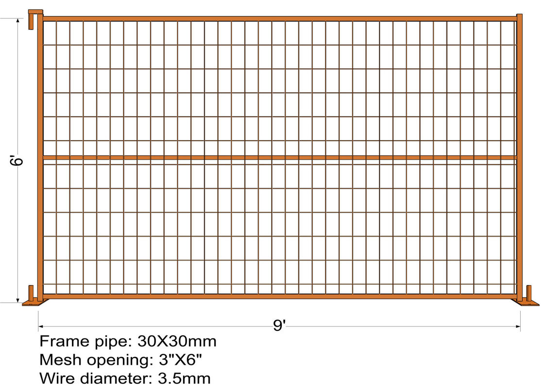 "6FT X 9FT ""Montreal"" TEMPORARY FENCE Tubing 25mm x 1.2mm Mesh 2""x4"" Diameter 8ga wire/4.00mm powder coated Orange"