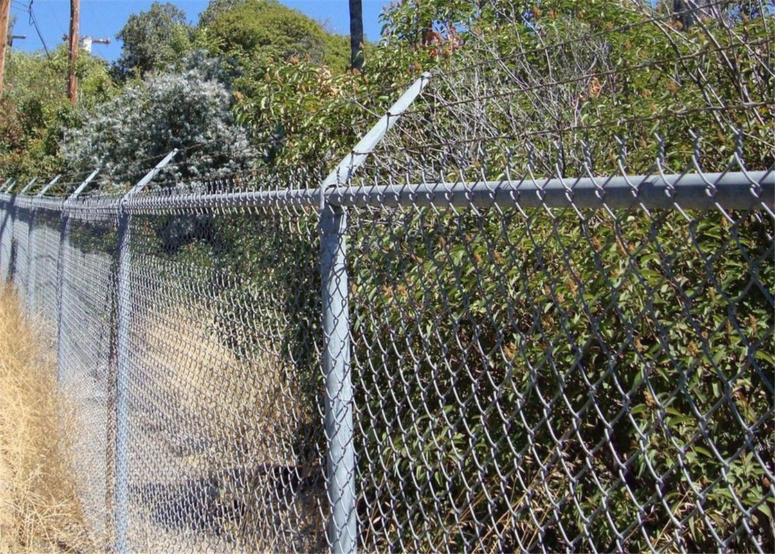 Chain wire fence protects and decorates garden and sports yard