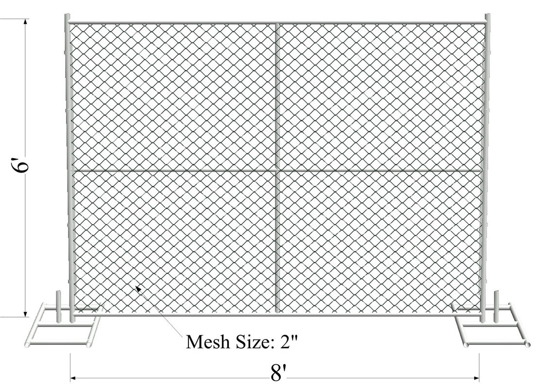 "6'x8' smart construction fence tube 1.25""/32mm wall thick 1.20mm mesh aperture 75mm x 75mm temporary chain link  fence supplier"