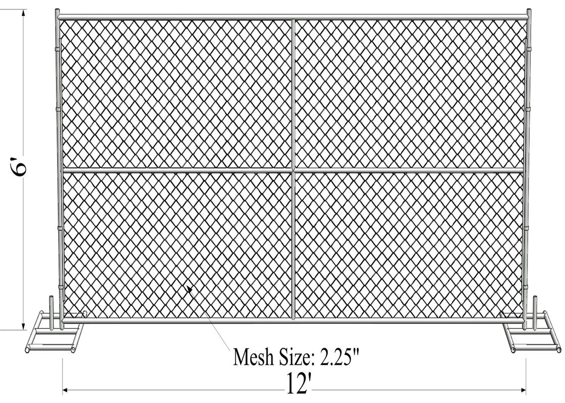 8ft x 12ft spacing 2inch x 2inch x 12ga wire tubing 1.5 inch with 16 ga thickness HDG Easy  temporary chain link fence supplier