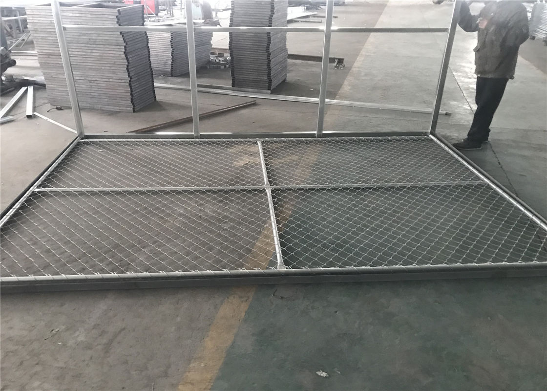 "6x14' Chain Link Fence Panels for Construction Tube 1⅗""(40mm)  1.8 oz/ft2[500g/m2] hot dipped galvanized  Cross Brace supplier"