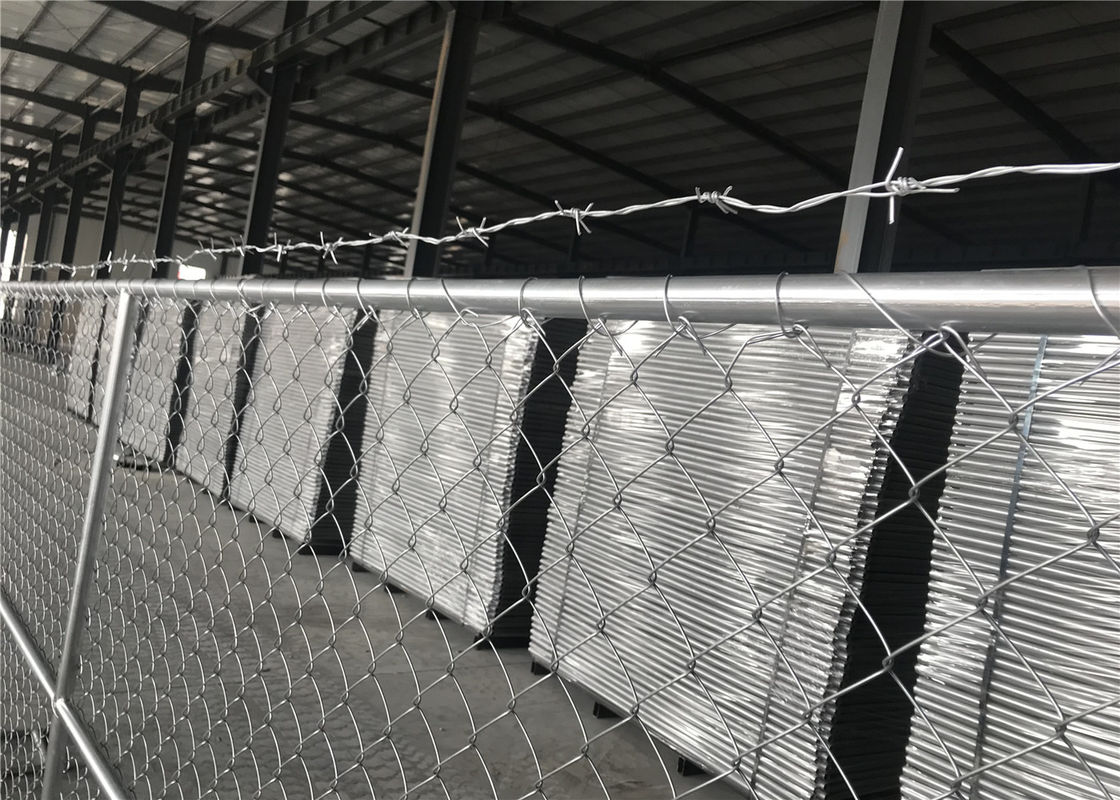 "8'x12' chain link fence panels for semi contruction site mesh 3"" x 3"" x 12gauge ASTM392 hang with barb wire supplier"