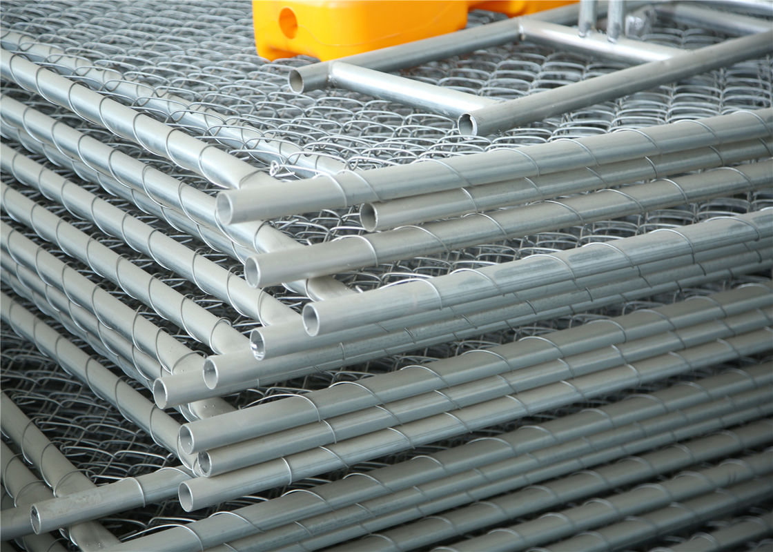 Chain Link Fabric Construction Fence Panels 6' height width 14' width Mesh 65mm x 65mm ASTM hot dipped galvanized supplier