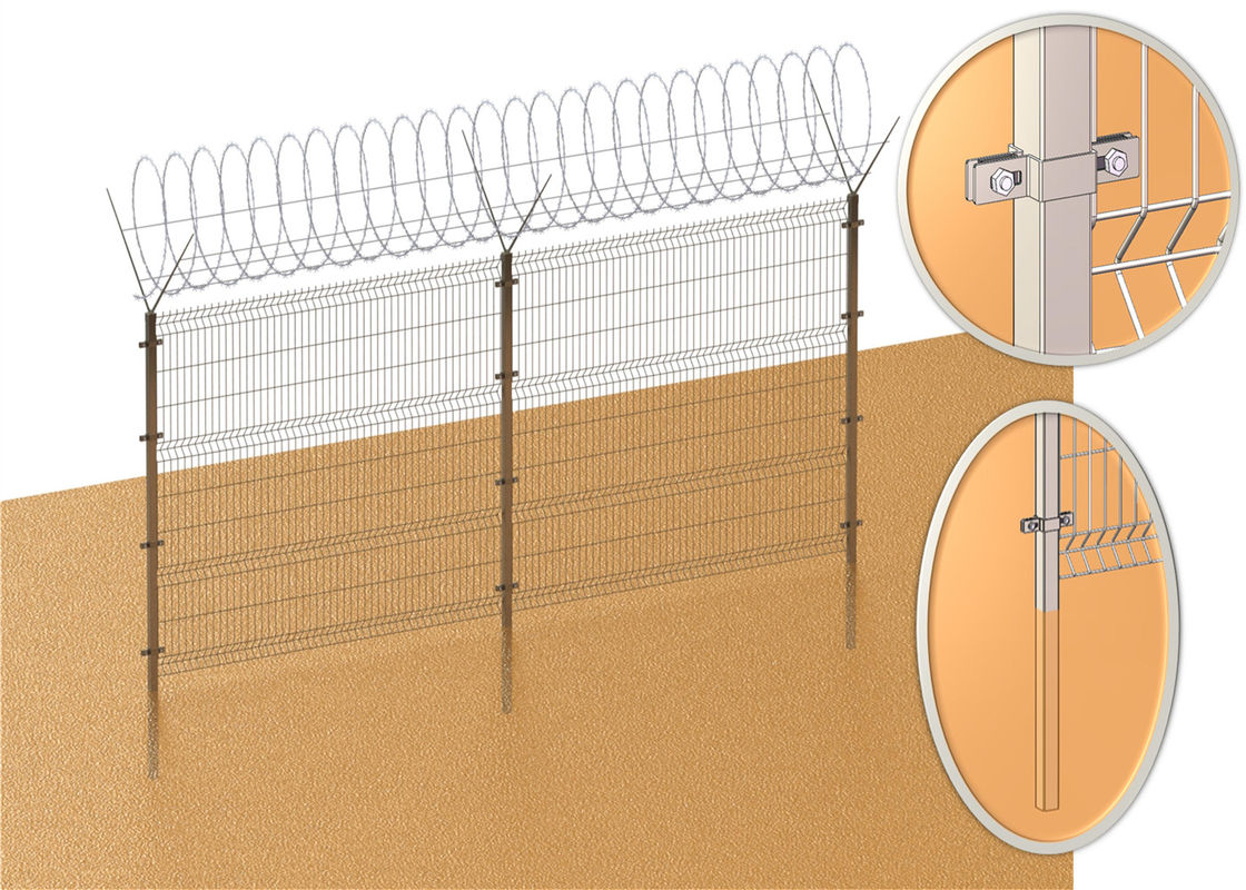 PVC coated 3D wire mesh fence panels diameter 4.00mm x 50mm x 200mm mesh aperture 3 V fold 1830mm x 2500mm supplier