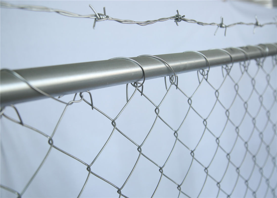 Hot dipped Galvanized Chain Link Fence Panels Height 6' Width 10' 33mm outer frame with Barb Wire