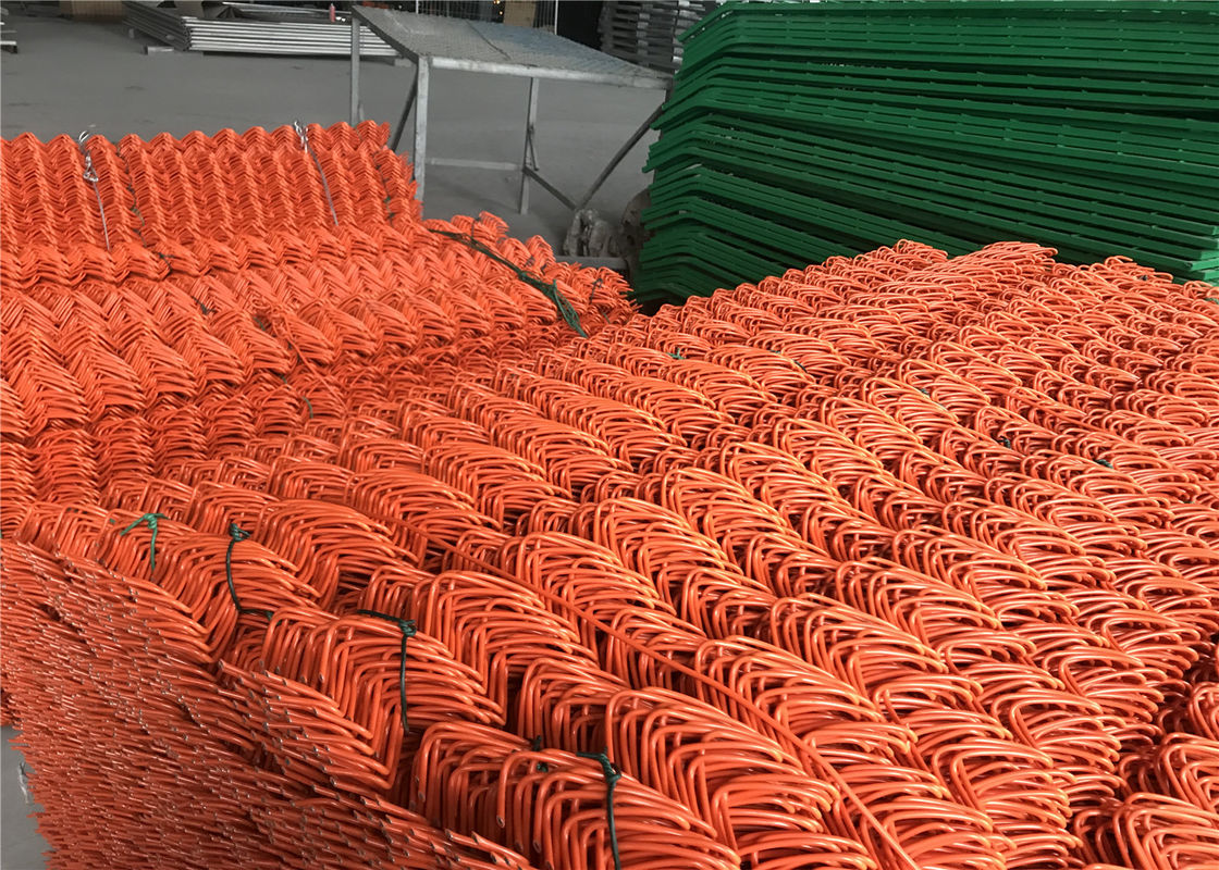 "Chain Link Fence mesh 2.5"" x 2.5"" PVC and PE coated Orange Color Diameter 8gauge/4.00mm supplier"