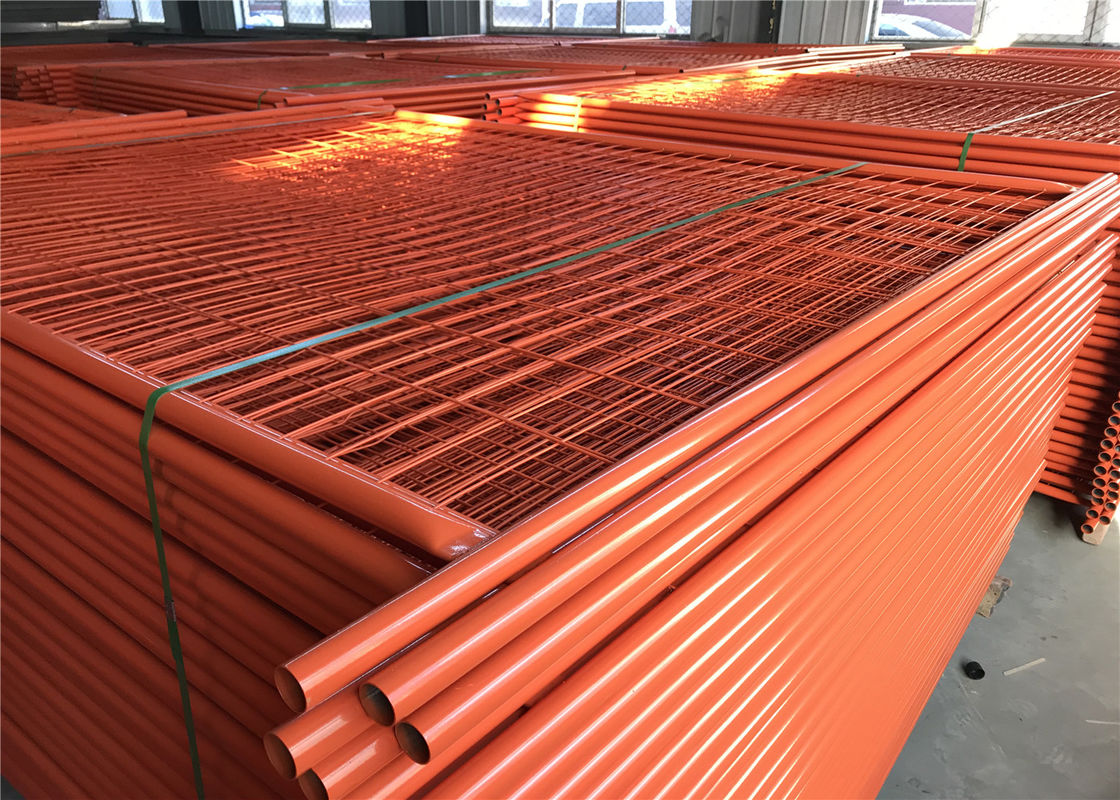 RAL 2009 Powder Coated Temporary Fencing Panels OD 32mm x 1.4mm Mesh 6cmx15cm diameter 3.2mm