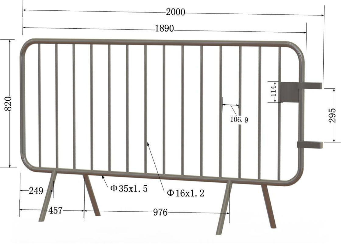 Crowd Control Barriers 1090mm height * 2500mm width OD 35mm tubing wall thick 2.00mm supplier