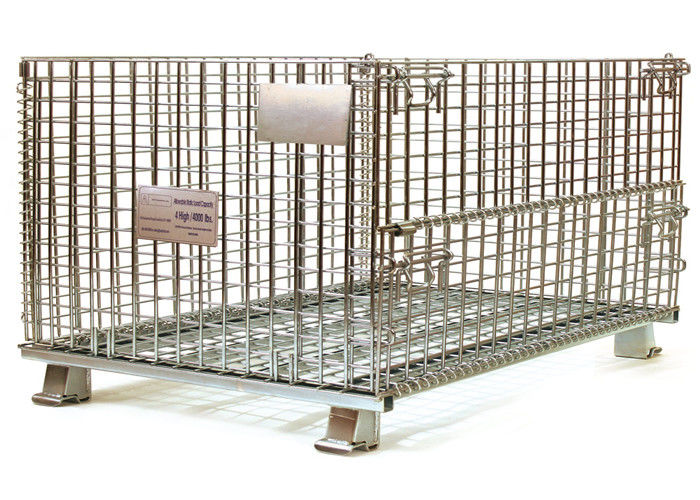 European stackable collapsible galvanized steel wire mesh cage metal storage container for wine bottle industry supplier