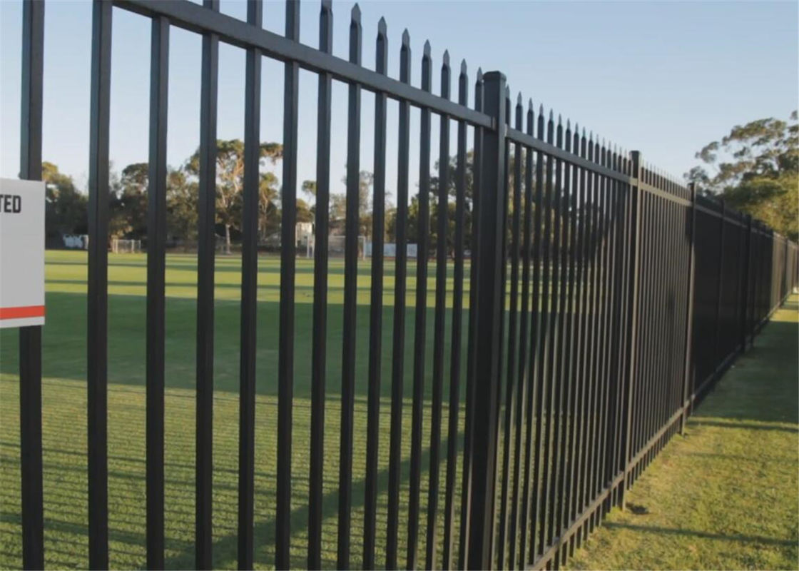 2.1mx2.4m powder coating black garrison fence supplier