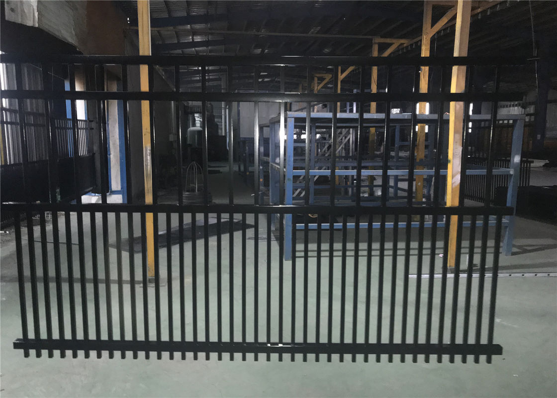 Steel fence 2100mmx2400mm Panels Stain Black Interpon Powder Rail 40mm and 50mm Upright 25mm supplier
