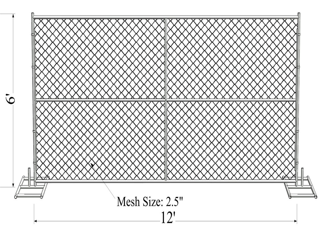 6'X12' temporary fence panels in chain wire mesh 60mm x 60mm diameter 2.70mm tube 1.25inch with1.8mm wall thick supplier