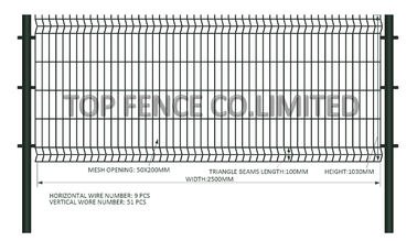 1030mm x 2500mm 3D Wire Mesh Fence Post and Clamp mesh opening :50mm x 200mm