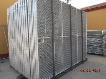 6 Foot x 12 Foot Temporary chain link construction fence panels cross brace punched foot then welded steel foot