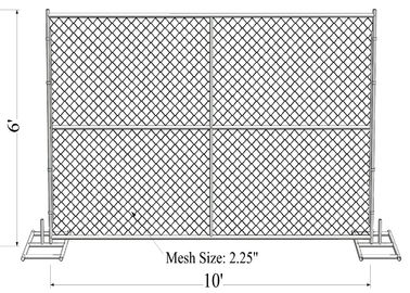 "Mesh 2"" x 2"" 6ft x 10ft with a 1 3/8"" pipes 16GA temporary mesh fence for sale Chain Link Temporary Fence"
