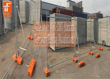 2.1 x 3.3 middle brace Construction Temporary Fencing Panels 2100mm*2400mm OD 32mm 2.00mm wall thick with blue base