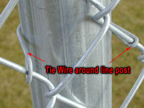 Chain Link Post with Tie Wire
