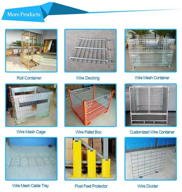 Warehouse storage collapsible wire mesh roll container