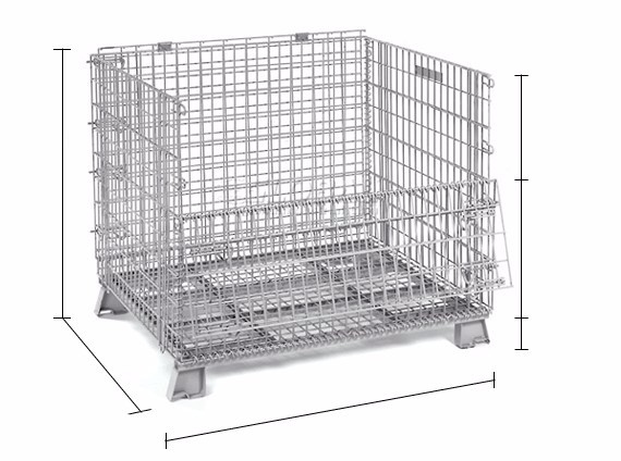 "Wholesale collapsible Wire Container, 40*32*35.5 Mesh 2"" * 2"" Diameter 6mm Capacity 2,800 LBS with Casters"