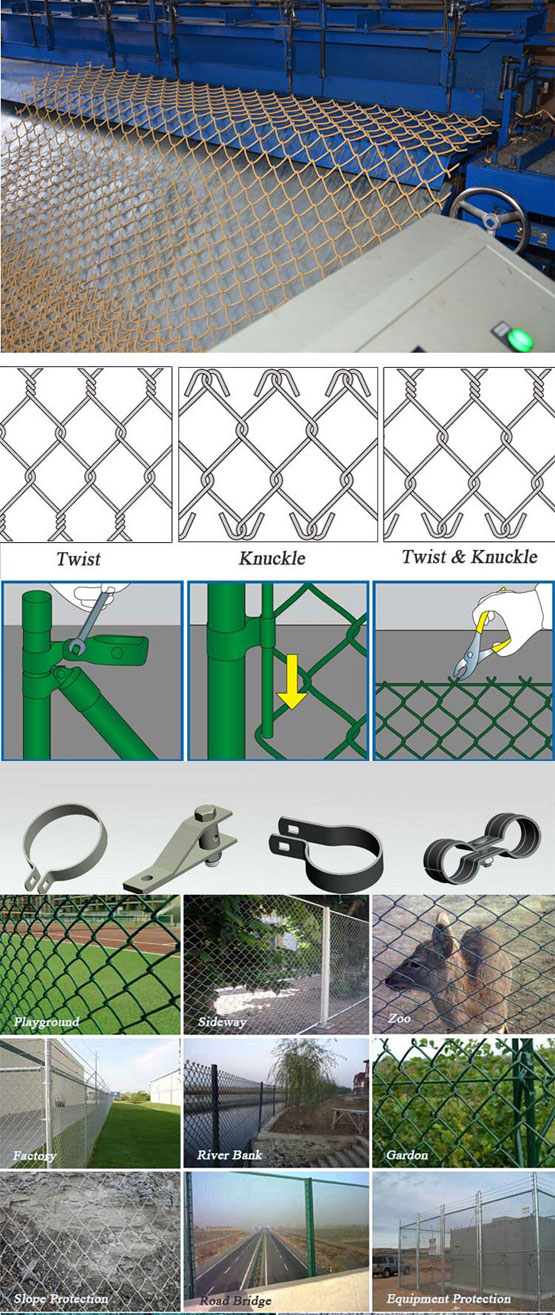 Galvanized PVC Coated Security Chain Link Mesh Fence