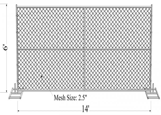 "16GA/ 1.6mm thick  1⅗""(40mm) pipes cross brace chain wire mesh 2""x2"" (50mm x 50mm) 8ftx12ft construction temp fence"