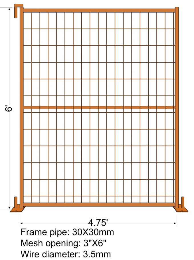 "6FT X 4.75FT ""Quebec French Land"" TEMPORARY FENCE Mesh3""x6' Diameter 4.00mm Zinc Coated And Power Coated Dupont"