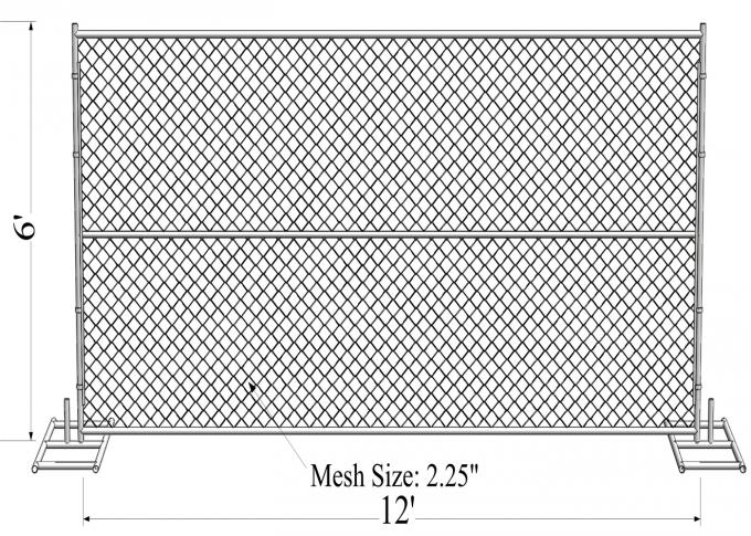 HDG1.2 oz/ft Temporary Chain Link Fence Height 4' 6' 8' Height 9' 9.5' 10' 12' Width Chain  Mesh 57mm x 57mm x 2.7mm dia