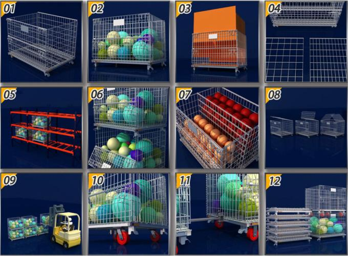 Warehouse Storage Pallet Cage Stackable Wire Mesh Metal Container