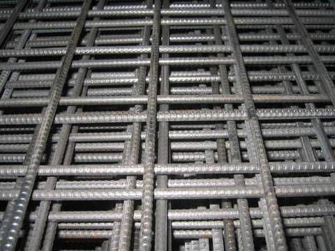 Deformed concrete reinforcing mesh sheets with 200 mm square mesh size.
