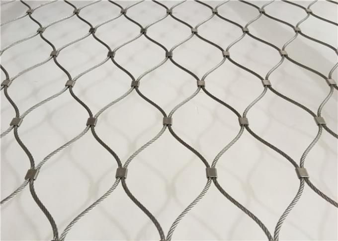 Animal Protection Stainless Steel Rope Mesh / Knotted Wire Net Mesh