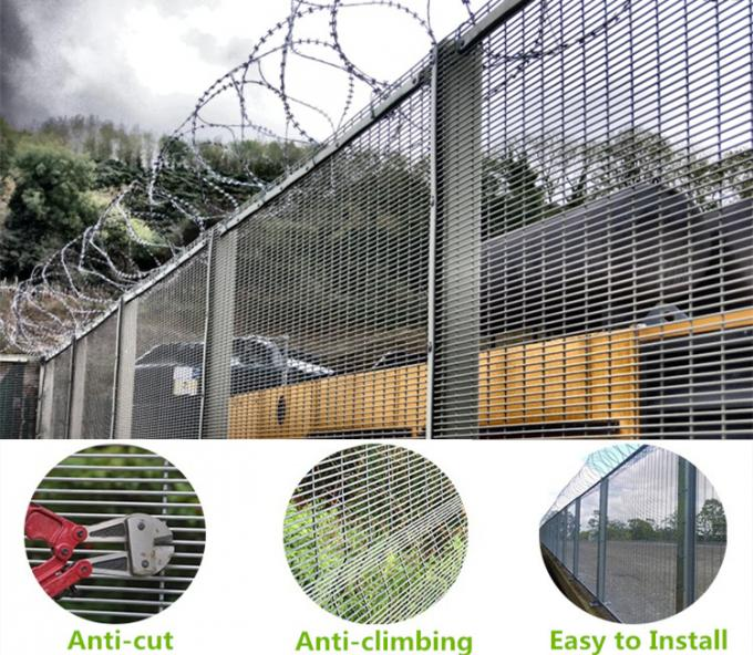 Anti Climb Barbed Wire Mesh High Security 358 Railway Station Fence