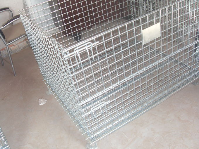 Warehouse storage collapsible wire mesh containerwi