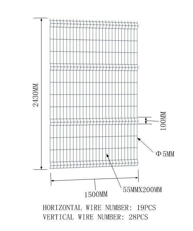 PVC Coated Garden Wire Mesh Fence for Sale 1500mm width x 2430mm height