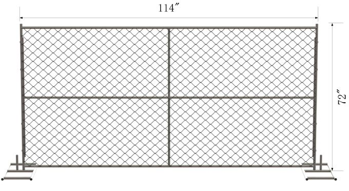 6-foot x 10-foot chain link temporary mesh fence 1-1/4 inch pipes, mesh 2-3/8 inch x 11.5 gauge wire
