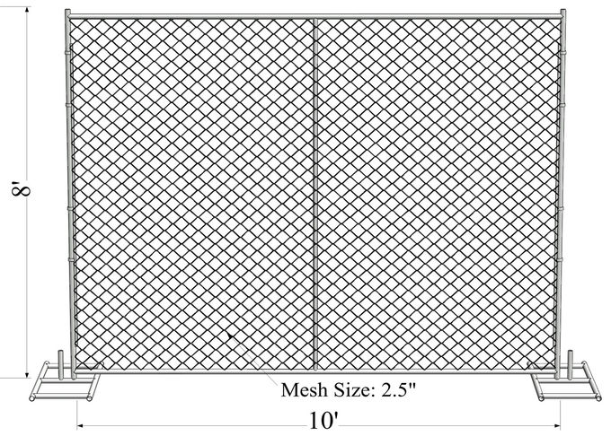 "8ftx12ft 1830mm x 2650mm tubing  1½""(38mm) cross brace temporary chain link fence mesh spacing  2¼""x2¼""(57mmx57mm)"