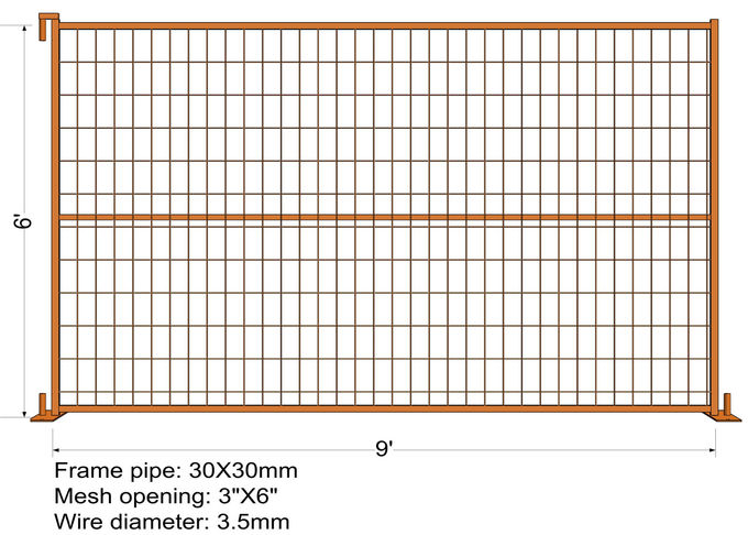 "6FT X 9.5FT Powder COATED canada standard temporary fence panels mesh spacing 2""x8""x8ga diameter tubing 30mm RHS x 1.6mm"