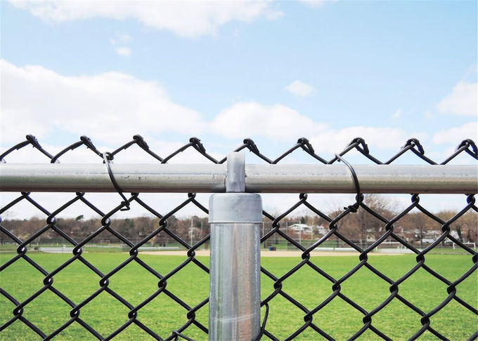 Green Coated Chain Link Fence Mesh Airport Security / Side Stop Fencing