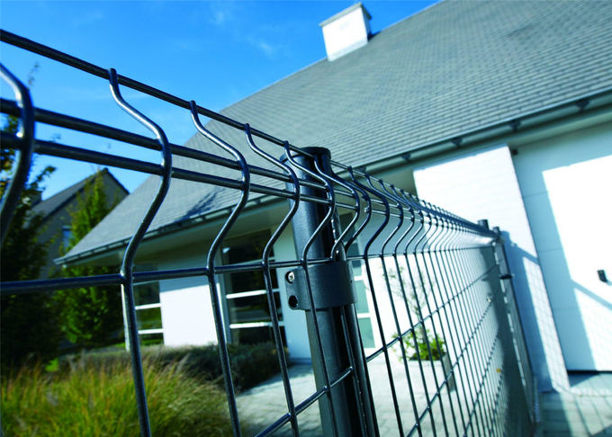 PVC Coated Wire Mesh Fence Panels, 1230mm ,1530mm , 1830mm, 2030mm,2230mm with Curved /V beams Anti Climb Mesh Fence Pan
