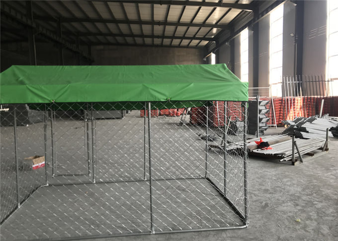 7.5ft x 7.5ft x 6ft chain mesh temporary dog kennel fence OD 32mm pipes galvanized steel temp dog fence