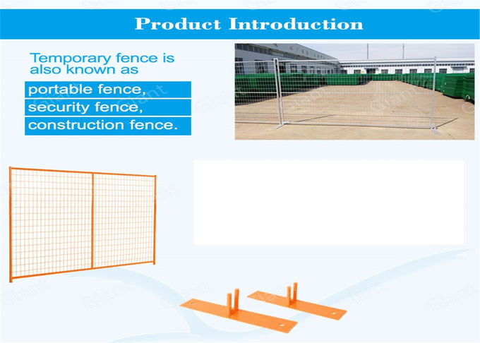 "Powder coating temporary construction fence panels Height 8'/2430mm*9.5'/2900mm width tubing 1.2""/30mm with 1.5mm thick"