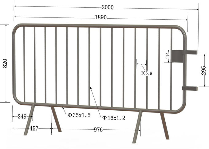 Crowd Control Barriers 1090mm height * 2500mm width OD 35mm tubing wall thick 2.00mm