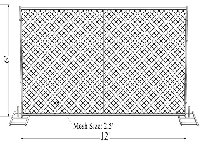 "8'x12' construction chain link fence panels 1⅝""(41.2mm) with a wall thickness 16ga /1.6mm mesh aperture 2¼""x2¼""(57mmx57"
